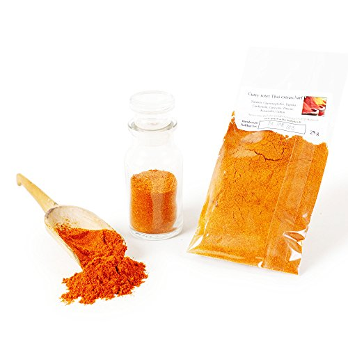 Curry Roter Thai extra scharf, Curry-Pulver, Curry-Gewürz, Curry-Gewürzmischung, Currygewürz, Curry-Vegan, Thai-Curry rot, 25g