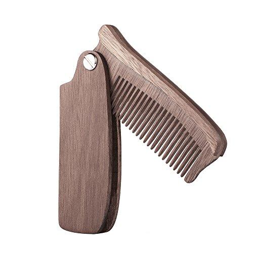 Anself Faltbar Bartkamm Taschenkamm aus Holz für die perfekte Bartpflege