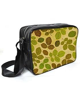 Snoogg grün Blätter Muster Leder Unisex Messenger Bag für College Schule täglichen Gebrauch Tasche Material PU