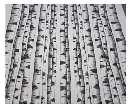 Werthers Stoffe Stoff Baumwollstoff Meterware Birke Stamm Baum weiß schwarz Schweden Landhaus