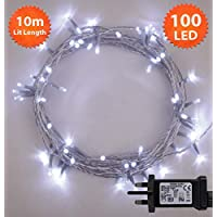 Christmas Lights 100 LED 10m Bright White Indoor/Outdoor Fairy Lights String Tree Lights Festival/Bedroom/Party Decorations Memory Mains Powered 32ft Lit Length 3m/9ft Lead Wire Clear Cable