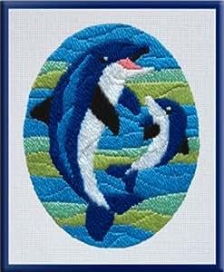 sticken f r kinder mit nadel motiv delfine delfin gr e. Black Bedroom Furniture Sets. Home Design Ideas