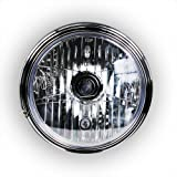 Motorrad Scheinwerfer LTD-Style, 7', schwarz, H4, Klarglas, Prismenreflektor, seitliche Befestigung, E-geprüft