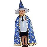 iYmitz Kinder Halloween Kostüm Zauberer Hexe Umhang Cape Robe und Hut für Boy Girl(blau,160cm)