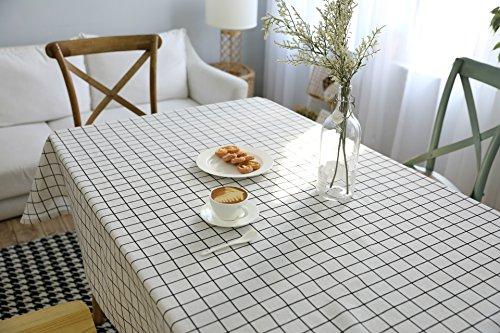 Blanc Nappe Signature Cotton Check Nappe européenne simple et moderne (200 x 140 cm)