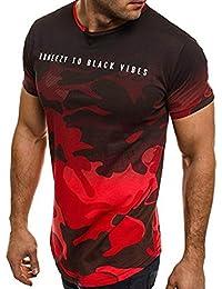 LuckyGirls Camisetas Hombre Originales Manga Corta Camuflaje Deporte Polos Personalidad Casual Camisas (L, Rojo