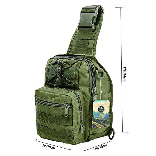 Imagen de bolso de hombro, topqsc bolso táctico del pecho bolsa para hombro crossbody bolsa de equitación y deporte con multiusos,  para camping, trekking, senderismo, rover sling verde militar  alternativa