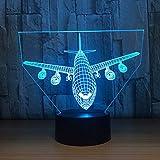 3D Licht Flugzeug Modell Kreative Nachtlicht Touch Flugzeug Schreibtischlampe LED Illusion Lampe Hologramm 7 Farben Kühlen Spielzeug Neues Jahr Geschenk