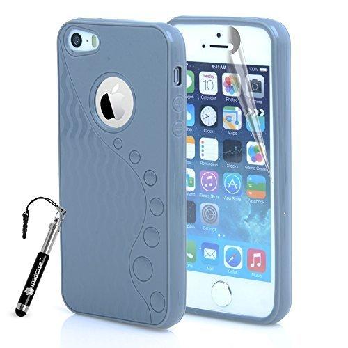 Apple iPhone 5S/5–Silikon Gel Polka Dots TPU Spannbettlaken Schutzhülle inklusive Displayschutzfolie & Stylus Touch Pen von Madcase Waves S Line - Grey