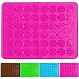 Belmalia Backmatte für 24 Macarons, Silikon, 48 Mulden, antihaftbeschichtet, Backofen, Matte, Macrones, Makronen pink rosa