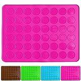 Belmalia Macarons Backmatte aus Silikon für 24 perfekte Makronen 48 Mulden antihaftbeschichtet 38x28cm Rosa Pink