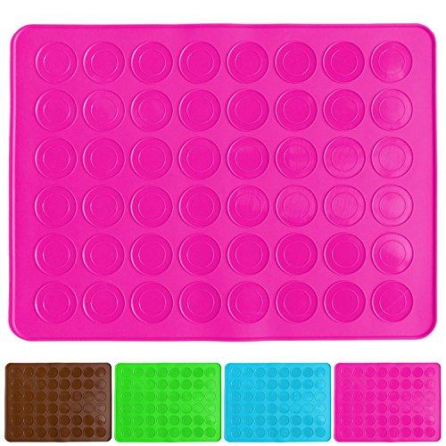 Belmalia Macarons Backmatte aus Silikon für 24 perfekte Makronen 48 Mulden antihaftbeschichtet 38x28cm Pink Rosa
