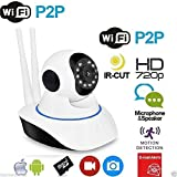 TELECAMERA IP CAMERA HD 720P WIRELESS LED IR LAN MOTORIZZATA WIFI RETE CON AUDIO DOPPIA ANTENNA
