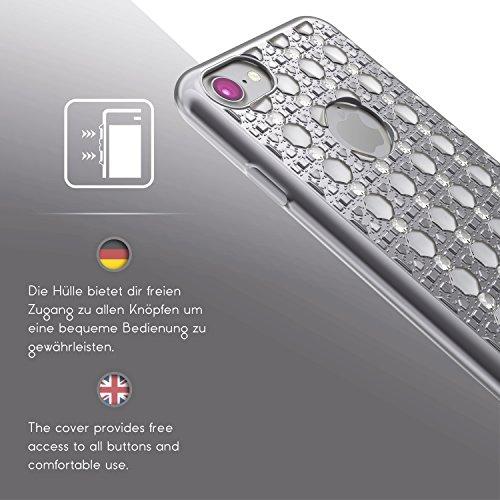 Urcover® Apple iPhone 7 Plus Hülle mit Oriental Muster in Schwarz / Weiß | Silikon Backcase Schutz-hülle | flexibel weich TPU | Diamanten Diamonds Case stylisches Cover Smartphone Zubehör Silber / Weiß