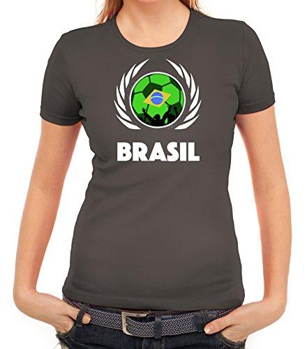 ShirtStreet Brasil Wappen Soccer Fussball WM Fanfest Gruppen Fan Wappen Damen T-Shirt Fußball Brasilien Dunkelgrau