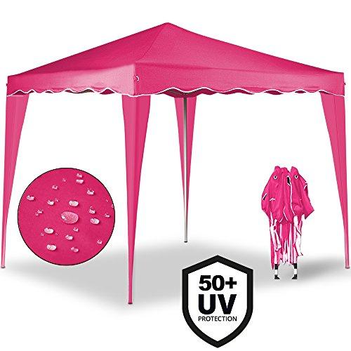Deuba® Pavillon Capri 3x3m in Pink Faltpavillon Gartenzelt | Sonnenschutz | Popup | wasserdicht | Farbauswahl | Tragetasche