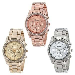vovotrade® 3Pack Argent Or et fini or rose classique horloge femme ronde
