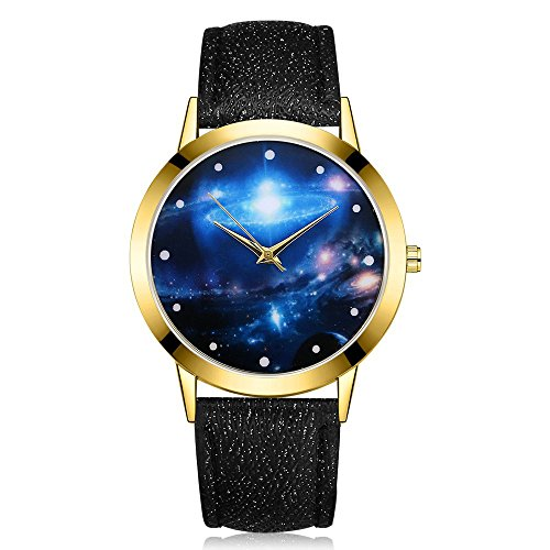(rainbabe Analog Quarzuhr Cosmic Frisbee Spiegel Armbanduhr 24cm mit 3,6cm Fall)