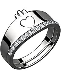 Sterling Silver 2 Part Ladies Claddagh Ring, 10 Cubic Zirconia Stones (Weight 5 gms)