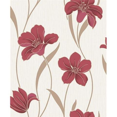 Ideco BOA-013-02-7 - Carta da parati a fiori colore: Rosso