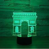 France Arc de Triomphe Porte Bâtiment LED 3D Veilleuse Led Coloré Veilleuse RGB Lampe Sleeping Lighting Enfant Enfants Jouet Cadeaux