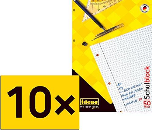 10 Schulblöcke /Schreibblöcke kariert DIN A4 / 50 Blatt je Block
