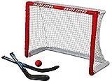 BAUER - Knee Hockey Tor Set inkl. Sticks & Ball I Outdoor-/Indoor Tor I Inline-Hockey I Tor für Hockeybälle & Pucks I Streethockey-Training I Feldhockey I inkl. 2 Mini Sticks & Schaumstoffball - Rot