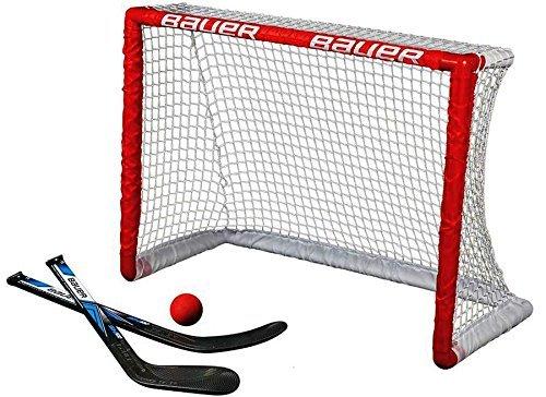 Mini-stick-hockey-set (BAUER - Knee Hockey Tor Set inkl. Sticks & Ball I Outdoor-/Indoor Tor I Inline-Hockey I Tor für Hockeybälle & Pucks I Streethockey-Training I Feldhockey I inkl. 2 Mini Sticks & Schaumstoffball - Rot)