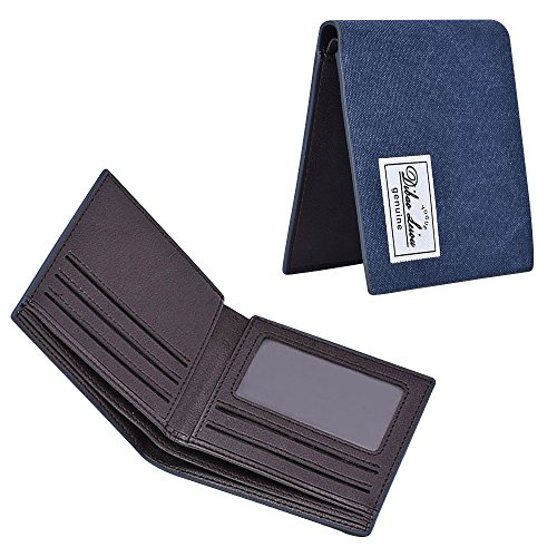 iVotre Bifold Brieftasche Für Männer, Leinwand, Material, Multi - Card Slots, Id Fenster, Ultra - Slim Und Modisch, Neue Handtasche Für Teens, Jungs, Männer - Kamel blue