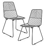 [en.casa] Eleganter Metallstuhl in dunkelgrau - 2er-Set - Indoor