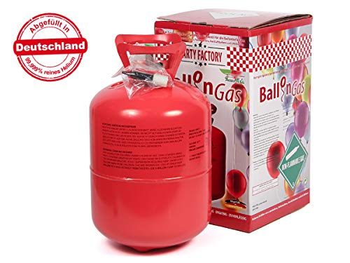 Alsino KAR-HE Heliumgasflasche Ballongas Heliumgas Einweg Helium Ballongas Geburtstag Hochzeit Folienballons für Ca. 50 Luftballons