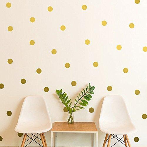 ufengke 54-Stück Tupfen Kreise Wandsticker, Kinderzimmer Babyzimmer Entfernbare Wandtattoos Wandbilder Golden