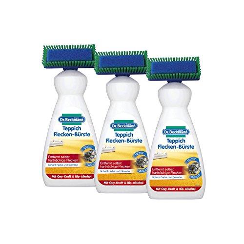 Dr. Beckmann Teppich Flecken-Bürste (3x 650 ml) | Teppichreiniger zur Entfernung selbst hartnäckiger Flecken und Gerüche  | inkl. Bürstenapplikator