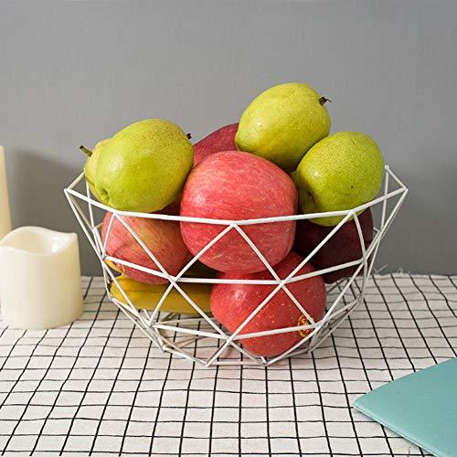LYBOWL Obstkorb, Obstschale, Gemüse, Snacks, Küche, Esstisch, theke Dekoration, Moderne, Metall,White -