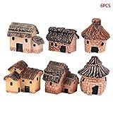 Wanfor - Set di 6 Piccole Casette in Resina, per Giardinaggio, Paesaggio in Miniatura, Paesaggio Artigianale, in Pietra, Decorazione da Giardino