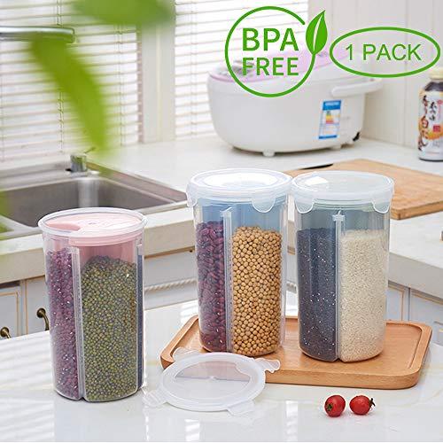 AnseeDirect Vorratsdosen Müslibehälter Schüttdose 4 Abschnitt Partition BPA frei Kunststoff Vorratsdosen luftdicht für Cornflakes, Getreide, Reis, Zucker usw (1 Stück Grün)