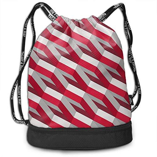 PmseK Turnbeutel Sportbeutel Kordelzug Rucksack, Sporttasche Poland Flag 3D Art Pattern Shoulder Bags Travel Sport Gym Bag Print - Yoga Runner Daypack Shoe Bags with Zipper and Pockets