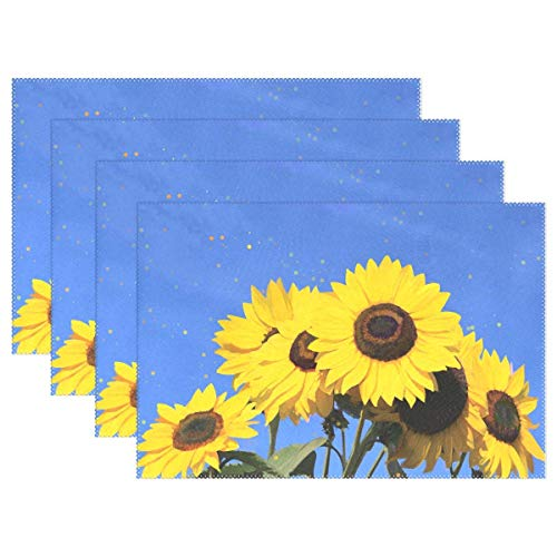 Sunflower Blue Sky Set of 6 Placemats Heat-Resistant Table Mat Washable Stain Resistant Anti-Skid Polyester Place Mats for Kitchen Dining Decoration ()