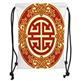 Drawstring Backpacks Bags,Ancient China Decorations,Career Luck Symbol Oriental Pattern Wishing Wealth Prosperity Decorative,Red Yellow Soft Satin,5 Liter Capacity,Adjustable Strin