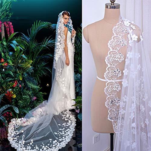 MMVEILS 3D Blumen Brautschleier Lace Applikation Kante mit Bördeln 3M Lange Schleier Hochzeit mit Kämmen Braut Kopf Schleier Zubehör, White