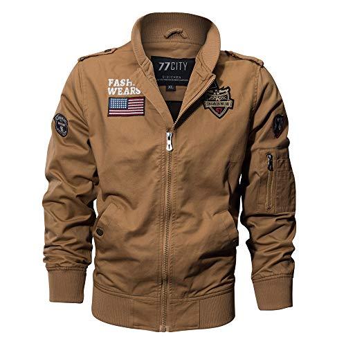 OSYARD Nouveaux Homme Printemps Automne Coton Militaire Veste Voler Bomber Blousons Outdoor Manteaux Multi-Poche Mens Cotton Lightweight Jacket (Kaki,4XL)