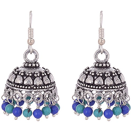 Ganapathy Oxodised Silver Jhumka With Terquise And Lapis Droplets For Women