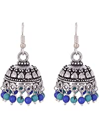 Ganapathy Gems Oxodised Silver Jhumka with Terquise and Lapis Droplets for Women