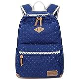 5All Fashion Mochila Escolar para niña mujer hombro Mochila de lona adolescente, tela de algodón Outdoor daypacks de ocio con elegante Lace qxt de 6066