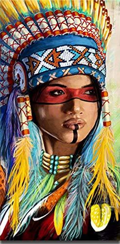 Suubboo Malen nach Zahlen Rahmenlose DIY-Färbung Traditionelle Klassische Indianer Figuren Bilder Farben Nach Zahlen Für Zimmer Wanddekoration 40X50Cm