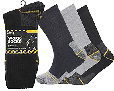 12 Pairs Mens Heavy Duty Work Socks Shoe Size 6-11 Safety/Steal Toe Boot Socks