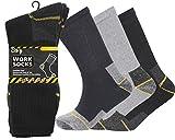 12 Pairs Mens Heavy Duty Work Socks Shoe Size 6-11 Safety/Steel Toe Boot Socks (Black/Navy/Grey)