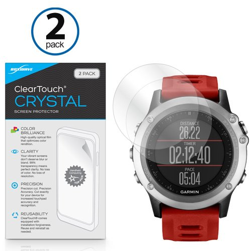 Garmin Fenix 3 Screen Protector, BoxWave® [ClearTouch Crystal (2-Pack)] HD Film Skin - Shields From Scratches for Garmin Fenix 3