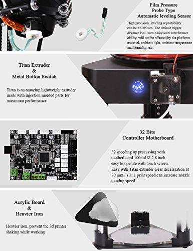 BIQU Magier Lippenstift-Größe Delta Rostock 3D Drucker (keine Notwendigkeit zur Montage Kossel 3D Drucker) mit 32 Motherboard Controller, 2,8 Zoll Touchscreen und Beispiel PLA Filament (Black) - 4