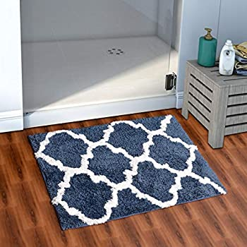 AEROHAVENTM Glorious Super Soft Microfiber Abstract Moroccan Designer Anti Slip Bathmat (Blue, 40 cm x 60 cm)